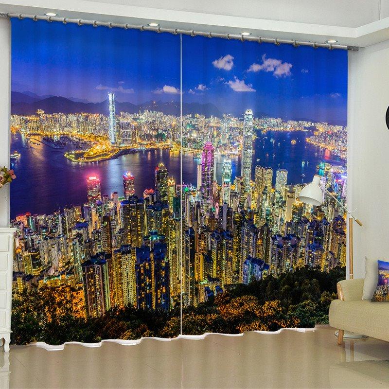 3D Night City Scenery Printed Modern Style 2 Panels Custom Living Room Curtain