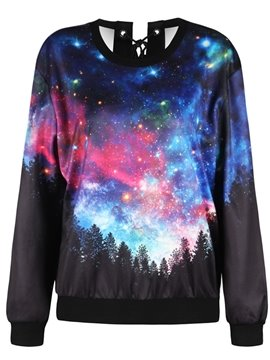 Pullover Sweatshirt Tie Back Night Forest Printed Women Cool Hoodies