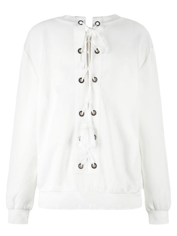 Pullover Sweatshirt Tie Back White Lips Printed Women Cool Hoodies