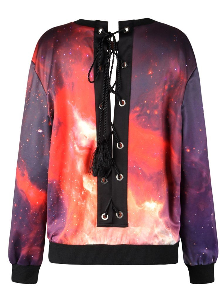 Pullover Sweatshirt Tie Back Ruby Sky Printed Design Women Hoodies
