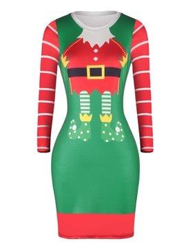Christmas Sweater Santa Pattern Adorable Pullover Women Dress