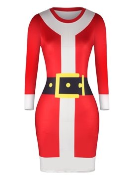 Christmas Sweater Red Adorable Pullover Women Dress
