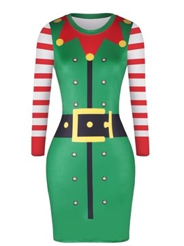 Christmas Clown Collar Point Pattern Sweater Pullover Women Dress