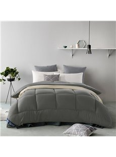 Solid Grey Polyester Super Soft Thick Winter Quilt/Comforter