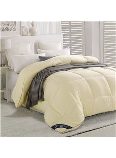Solid Beige Polyester Super Soft Thick Winter Quilt/Comforter