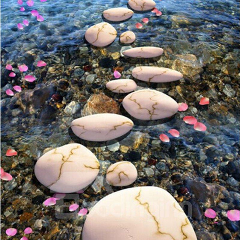 3D Petals Stones in Lake Pattern Waterproof Nonslip Self-Adhesive Floor Art Murals