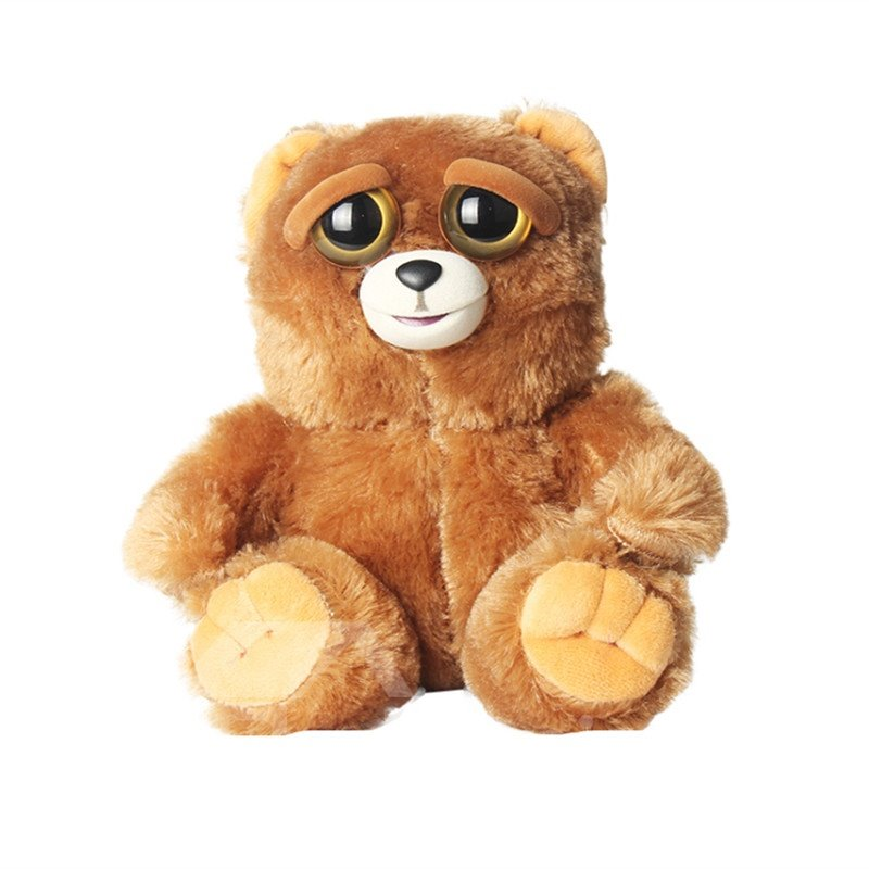 Bear Shaped Mechanical Face Changing Plush Brown Feisty Pet/Toy