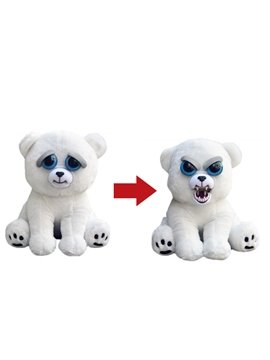 Bear Shaped Mechanical Face Changing Plush White Feisty Pet/Toy
