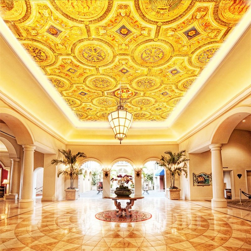 3D Golden PVC Waterproof Sturdy Eco-friendly Self-Adhesive Ceiling Murals