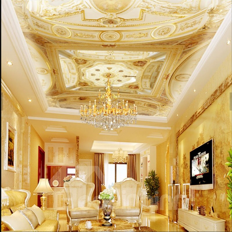 3D Gorgeous PVC Waterproof Sturdy Eco-friendly Self-Adhesive Ceiling Murals
