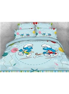 Hockey Smurfs with Colorful Balloons 4-Piece Bedding Sets/Duvet Covers