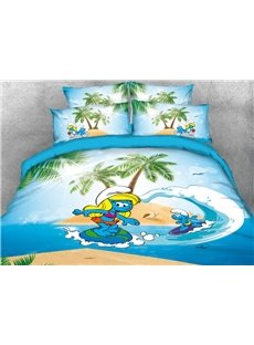 Surfing Smurf and Smurfette Coastal Style 4-Piece Bedding Sets/Duvet Covers