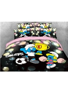 World Cup Soccer Champion Smurf 4-Piece Bedding Sets/Duvet Covers