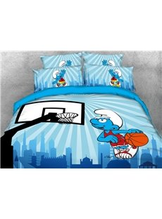 Smurf Playing Basketball 4-Piece Bedding Sets/Duvet Covers