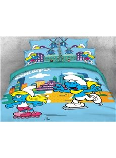 Skater Smurf and Smurfette 4-Piece Bedding Sets/Duvet Covers