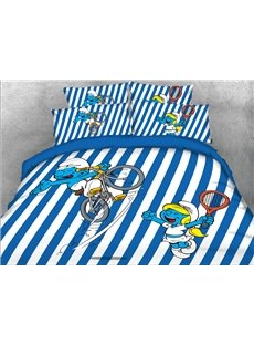 Cyclist Smurf Blue and White Striped 4-Piece Bedding Sets/Duvet Covers