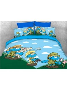 Nature Watcher Smurfs and Dragonfly 4-Piece Bedding Sets/Duvet Covers