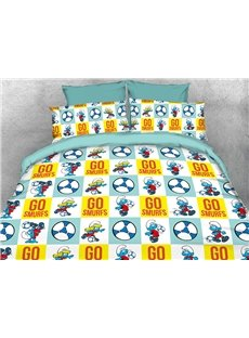 Football Smurfs and Smurfette 4-Piece Bedding Sets/Duvet Covers