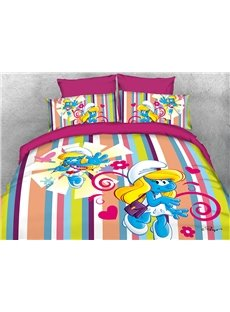 Dreamy Smurfette Singer and Colorful Stripes 4-Piece Bedding Sets/Duvet Covers