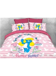 Smurfette with Flower and Butterflies 4-Piece Pink Bedding Sets/Duvet Covers