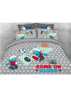 Soccer Smurfs and Polka Dot 4-Piece Bedding Sets/Duvet Covers