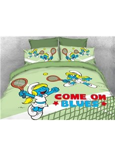 Tennis Smurfette 4-Piece Light Green Bedding Sets/Duvet Covers