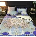 Floral Dream Catcher Royal Blue Reversible Fuzzy Super Warm Bed Blanket