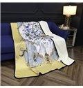 Flowers Blooming Golden Scrolls Luxury Style Reversible Fuzzy Warm Bed Blanket
