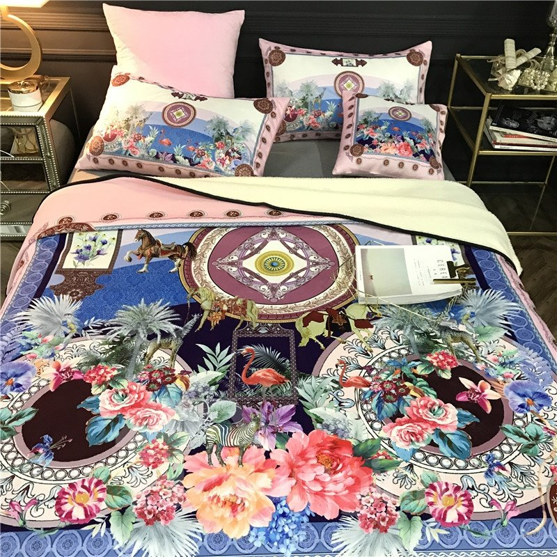 Flowers and Flamingo Luxury Style Reversible Fuzzy Super Warm Bed Blanket