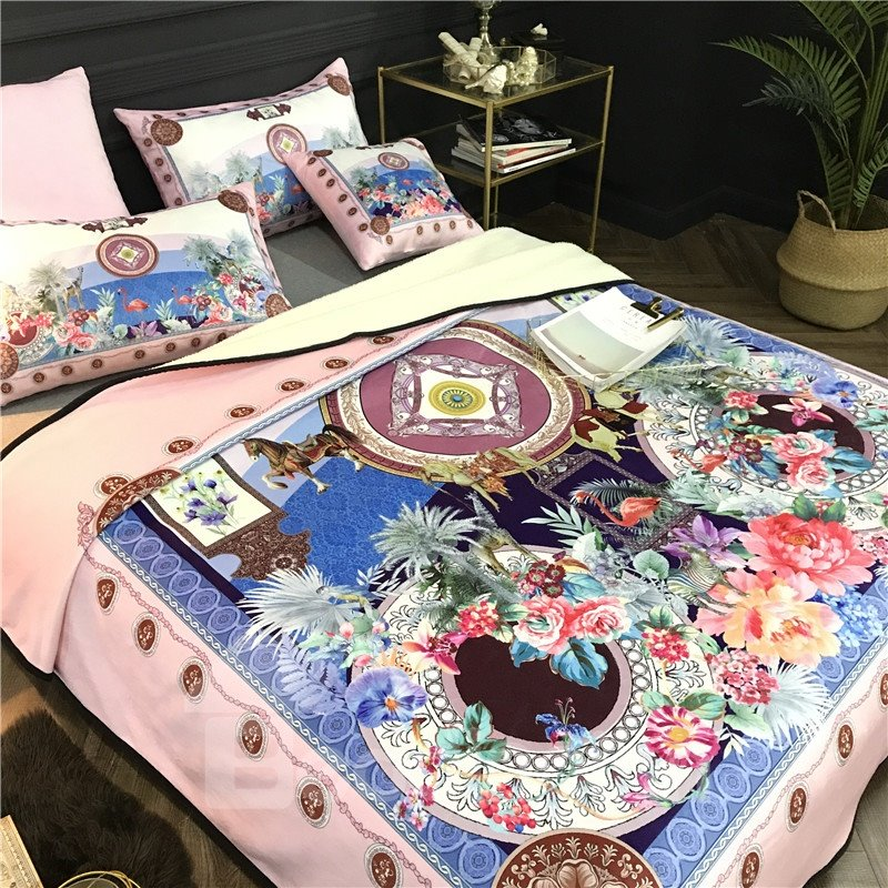 Flowers and Flamingo Luxury Style Soft 2-Piece Bed Pillowcases