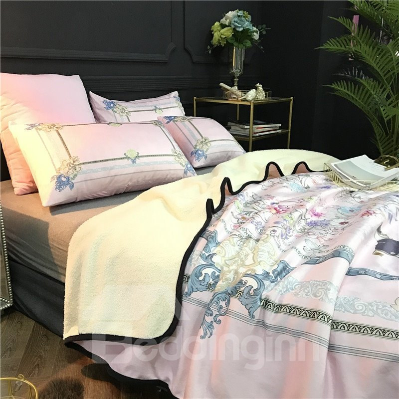 Horse and Flower Pink Luxury Style 2-Piece Bed Pillowcases
