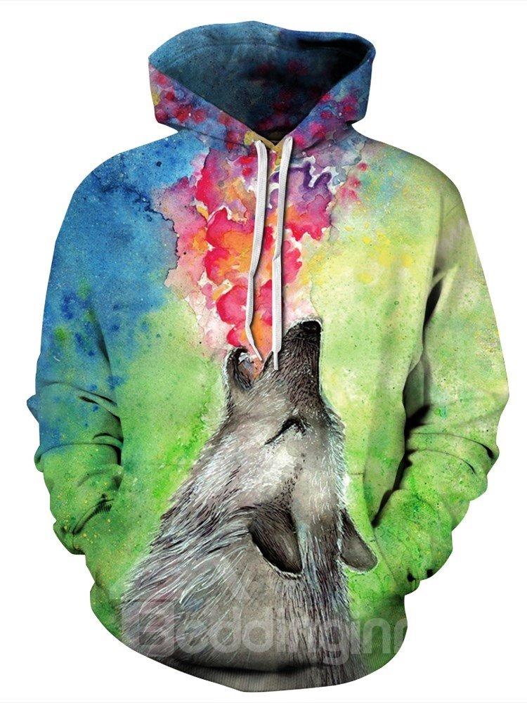 3D Wolf Roar Pattern Men Sweater Long Sleeve Cool Hoodies