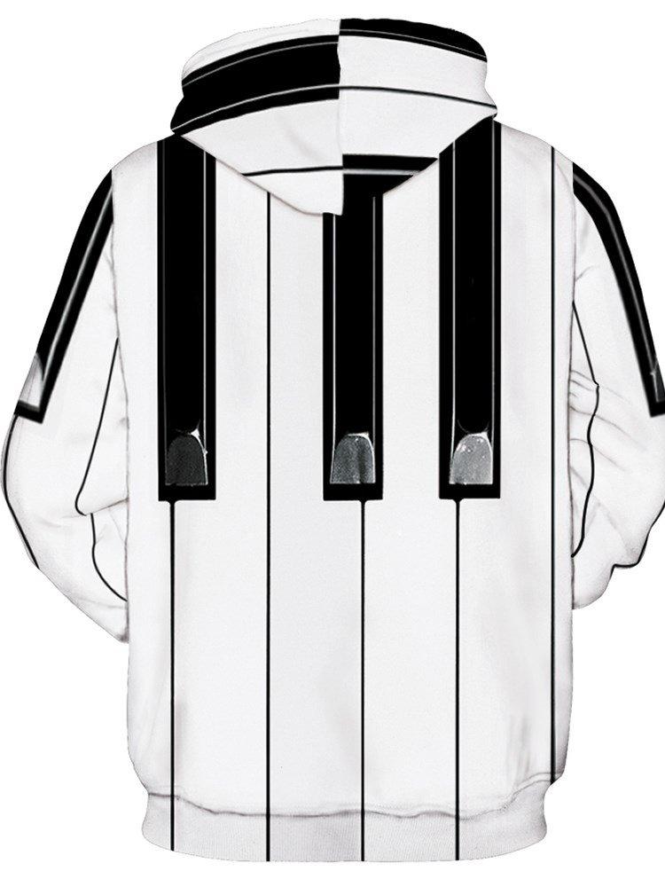 Long Sleeve Piano Key Pattern 3D Painted Hoodie
