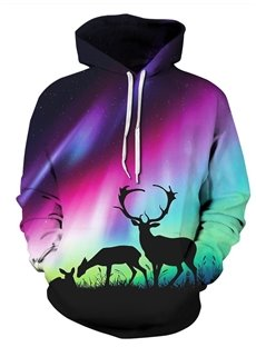 3D Aurora Deer Pattern Men Sweater Long Sleeve Cool Hoodies