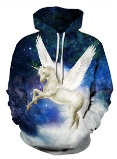 3D Galaxy Unicorn Wings Pattern Men Sweater Long Sleeve Cool Hoodies