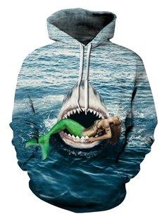 3D Shark Bite Mermaid Pattern Men Sweater Long Sleeve Cool Hoodies