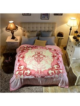 Pink Floral Pattern Luxury Style Reversible Fuzzy Warm Thick Fleece Bed Blanket