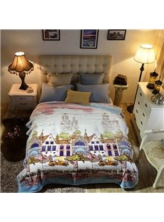 Cartoon Town with Buildings Full Reversible Fuzzy Warm Thick Fleece Bed Blanket