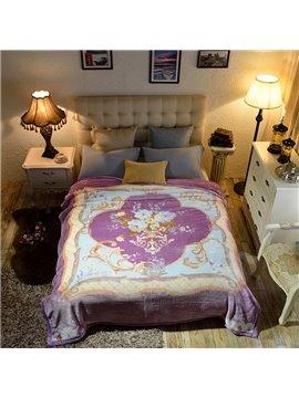 Fleece White Flowers Purple Luxury Style Reversible Fuzzy Warm Thick Bed Blanket