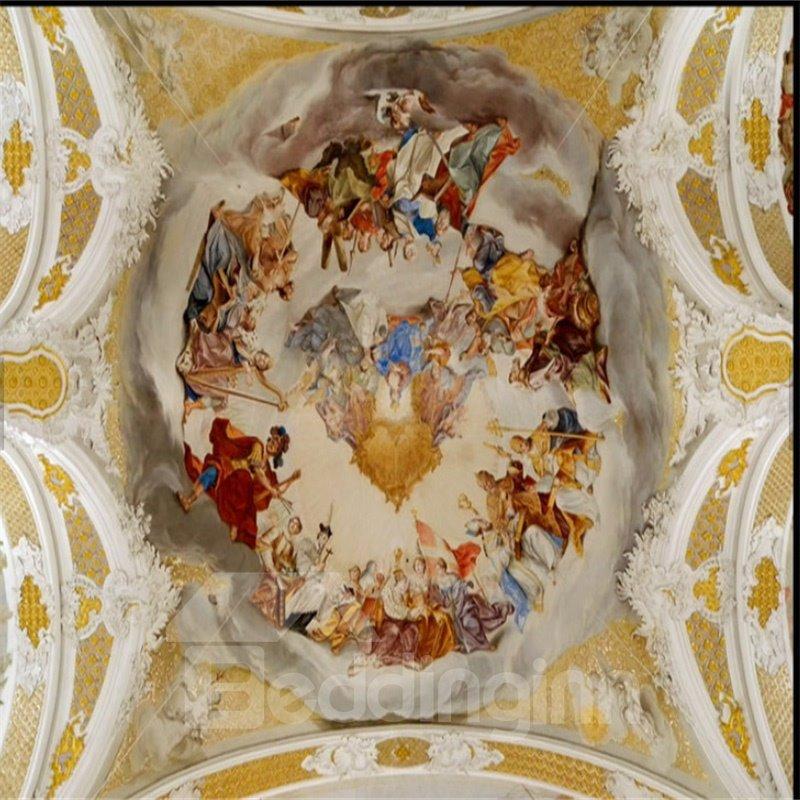 3D Yellow Men Gathering Baroque Pattern PVC Waterproof Sturdy Eco-friendly Self-Adhesive Ceiling Murals