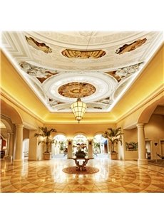 3D White Sculpture With Angels Pattern PVC Waterproof Sturdy Eco-friendly Self-Adhesive Ceiling Murals