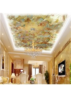 3D Yellow Angels Pattern PVC Waterproof Sturdy Eco-friendly Self-Adhesive Ceiling Murals