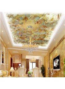 3D Yellow Angels Pattern PVC Waterproof Sturdy Eco-friendly Self-Adhesive Ceiling Murals