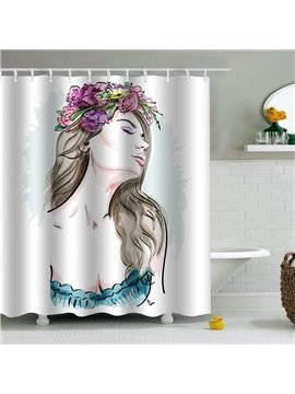 Girl with Floral Hoop Printed PEVA Waterproof Durable Antibacterial Eco-friendly Shower Curtain