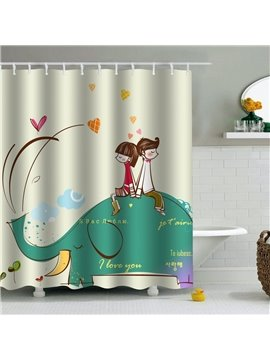 Couple on Elephant Printed PEVA Waterproof Durable Antibacterial Eco-friendly Shower Curtain