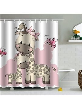 Giraffes Printed PEVA Waterproof Durable Antibacterial Eco-friendly Shower Curtain