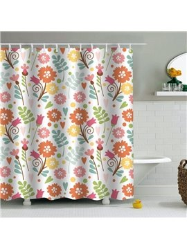 Flowers Printed PEVA Waterproof Durable Antibacterial Eco-friendly Shower Curtain