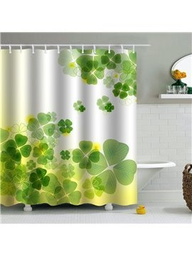 Green Herbs Printed PEVA Waterproof Durable Antibacterial Eco-friendly Shower Curtain