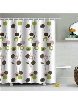 Plants Printed PEVA Waterproof Durable Antibacterial Eco-friendly Shower Curtain