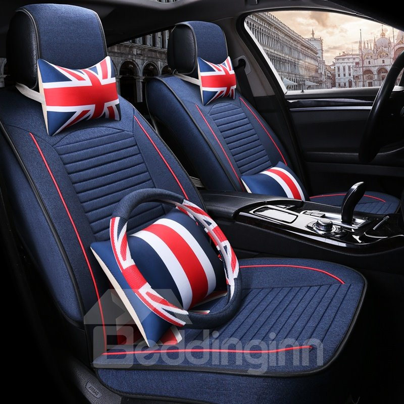 Simple Design Pure Color England Style Universal Car Seat Covers